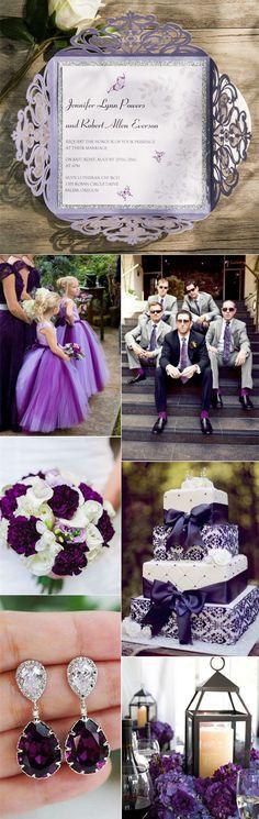 dark purple and silver wedding color ideas