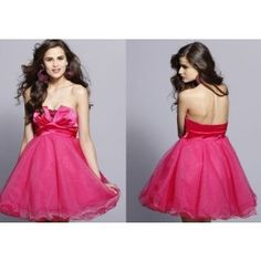 Lovely A-line Pink Strapless Satin Prom Homecoming Dress