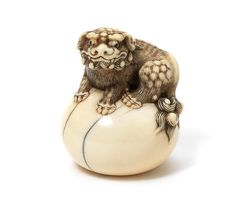 AN IVORY NETSUKE OF A SHISHI. Kyoto, early 19th century. Sold for US$ 6,147 inc. premium THE HARRIET SZECHENYI SALE OF JAPANESE ART 8 Nov 2011; Bonhams.
