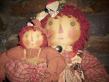 Primitive Handmade Raggedy Ann Doll, Antique quilt, linen, Bear,One of a Kind