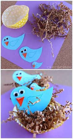 Blue Bird Craft with Cupcake Liner Nests - Crafty Morning - Bird Crafts for Kids Spring Crafts For Kids, Crafts For Kids To Make, Summer Crafts, Art For Kids, Kids Diy, Preschool Crafts, Easter Crafts, Fun Crafts, Daycare Crafts