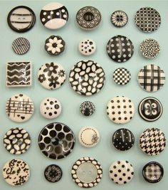 30 Vintage Mary Quant Era Black/White Buttons for Crafters. Great patterns with just two colors