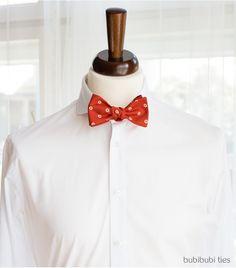 Burnt orange dotty silk bowtie - bubibubi ties