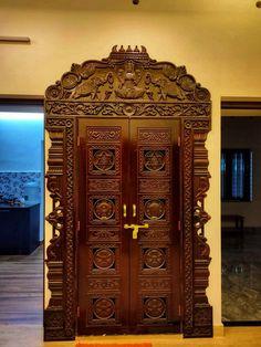 House Main Door Design, Wooden Front Door Design, Double Door Design, Pooja Room Door Design, Wooden Doors, Glass Pocket Doors, Temple Design For Home, Pooja Rooms, Kitchen Stickers