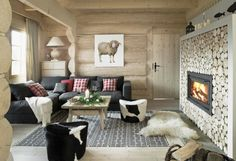Amazing Wooden Fairy Palace In Poland : Wooden Wall Nice Fireplace Black Sofa In Rustic Living Room Modern Decor, Modern Furniture, Houses In Poland, Black Sofa, Modern Fireplace, Fireplace Wall, Red Pillows, Living Room Pictures, Wooden Walls