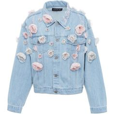 Anouki Floral Denim Jacket ($1,050) ❤ liked on Polyvore featuring outerwear, jackets, blue, denim jackets, blue jean jacket, flower print jacket, blue floral jacket and blue jackets