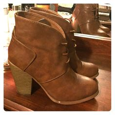 Camel color fall boots. ❗️PRICE IS FIRM❗️ Only worn twice, one small visible stain . Can barely see . Shoes Ankle Boots & Booties