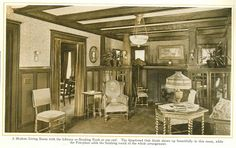 Living Room with Reading Nook from 1915 pre-finished woodwork brochure