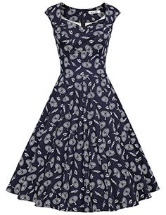2da7918778a1 MUXXN Women's Vintage Print Cap Sleeve Formal Cocktail Dress at Amazon  Women's Clothing store: