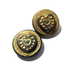 VINTAGE Antique Victorian Heart Buttons Two 2 Double by punksrus