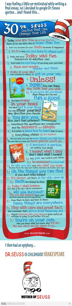 I LOVE Dr. Seuss! Some of the greatest things you can learn are said in rhyme with silly little drawings beside them!!