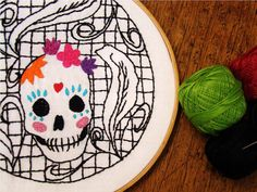 Mexican Candy Skull Embroidery Pattern
