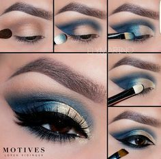 Improve makeup with these smokey eye makeup ad# 1542 set by step wedding day make up Beauty Pinner Tutorial para maquillar t Night out make up look - pictorial Eye Makeup Tips – How To Apply Eyeliner Eye Makeup Steps, Blue Eye Makeup, Blue Eye Shadow, Blue Dress Makeup, Gold Makeup, Makeup Ads, Beauty Makeup, Makeup Tricks, Prom Makeup