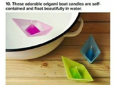 Awwww origami boat candles!