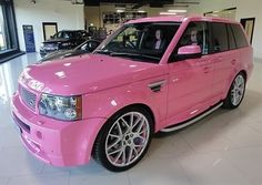 Range Rover Sport Pink - Girly Cars for Female Drivers! Love Pink Cars ♥ It's the dream car for every girl. Maserati, Bugatti, Pink Range Rovers, Range Rover Sport, Pink Lady, Pink Girl, Ford Raptor, My Dream Car, Dream Cars