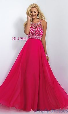 Shop SimplyDresses for high neck long prom dresses and beaded evening gowns with high necks. High neck prom gowns and formal dresses by Blush.