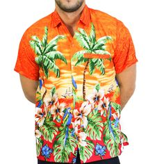 e85c8c41 La Leela Likre Palm Tree Cruise Leafy Hawaiian Camp Front Pocket Button  Down Shirt Men Hibiscus