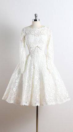 LOVESTRUCK ➳ vintage 1950s dress  * white floral lace & tulle * tulle & acetate lining * bow accent * back zipper * by Lorrie Deb  condition | excellent -