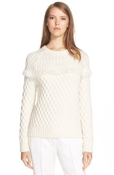 Tory Burch Fringe Fisherman Wool Sweater available at #Nordstrom