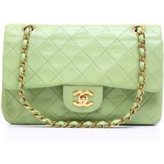 Chanel Pre-Owned Chanel Lime Lambskin Small Double Flap Bag (€2.760) ❤ liked on Polyvore featuring bags, handbags, green, green handbag, lambskin handbag, chanel handbags, lime green purse and chanel