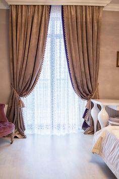 Бархатные шторы с бахрамой