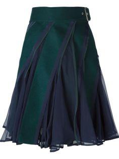 paneled flared skirt like the color combo Blouse And Skirt, Dress Skirt, Green Skater Skirt, Wool Skirts, Mode Inspiration, Mode Style, Apparel Design, Flare Skirt, Skirt Outfits
