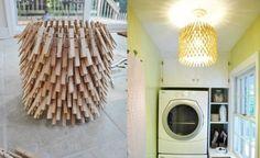 Eine Deckenlampe selber machen aus Kaninchendraht und Wäscheklammern gibt offenbar ein richtig schönes Lichtspiel! Eine Anleitung von deavita.com