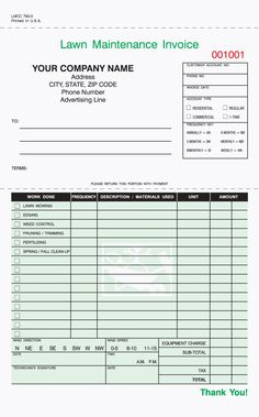 "3-Part Lawn Care Invoice, Carbonless, 5 2/3"" x 8 1/2"" /Free Shipping"