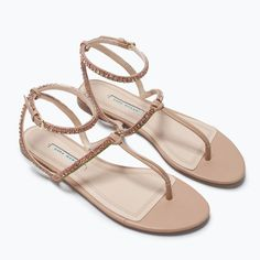 f87b174cc50 Zara Jeweled Sandals 37 Never worn with no tags  Zara size Natural beige  sandals with green