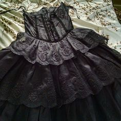 Betsey Johnson Cocktail Dress Black, lace all over, lace up back, three tiered skirt, near mint condition, corset, boned top, strapless, velveteen trim Betsey Johnson Dresses