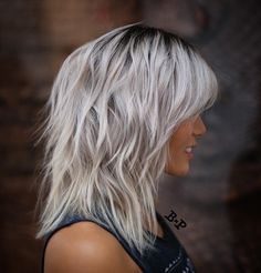 Shoulder-Length Wavy/Messy Gray/Ice-Blonde Hair with Layers