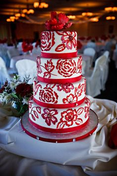 Colorful Cake With Large Red Flowers