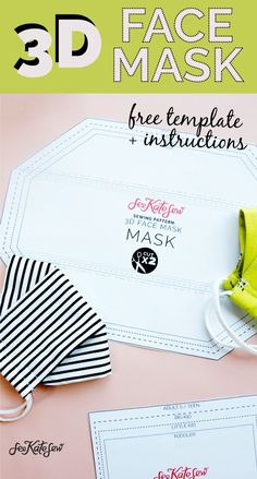 3d mask template - the most comfortable face mask - see kate sew Easy Face Masks, Best Face Mask, Diy Face Mask, Easy Sewing Projects, Sewing Hacks, Sewing Tutorials, Sewing Crafts, Homemade Mask, Mask Template