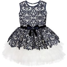 Lesy Luxury Blue Sequin Lace & Ivory Tulle Dress  at Childrensalon.com