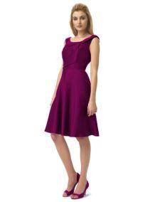 Shantung Off-the-Shoulder Knee-Length Dress in sangria $49.99 #purple #dress