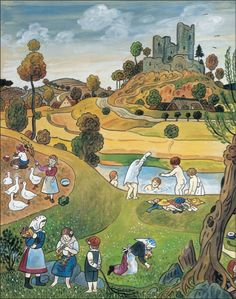 Summer - Illustration by Josef Lada Grandma Moses, Naive Art, Children's Book Illustration, Mythology, Illustrators, Art For Kids, Folk Art, Cool Pictures, Fairy Tales