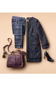 Tory Burch Tweed Coat & Plaid Skinny Jeans   Nordstrom
