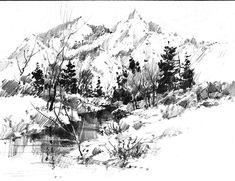 - on smooth paper. I prefer Bristol, but my sketch books are not Bristol, just smooth (not slick) surface paper. Done in the Wasatch mountains south of Salt Lake City. Landscape Drawing Tutorial, Landscape Pencil Drawings, Pencil Sketch Drawing, Landscape Sketch, Watercolor Sketch, Watercolor Landscape, Landscape Art, Drawing Ideas, Drawing Tips