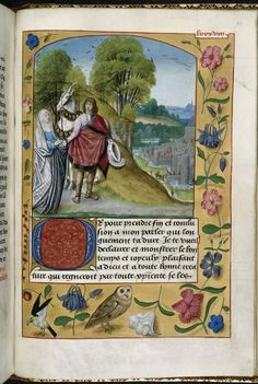 Description:Miniature of Imagination taking leave of the knight, with the city of Halle in the background, with a full trompe l'oeil border including a bird and an owl.  Origin:England, S. E. (Sheen) and Netherlands, S. (Bruges)  Attribution:Master of the Prayer Books of around 1500