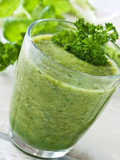 Green Monster Smoothie! Don't let the bright green color scare you -- it tastes fruity and delicious!