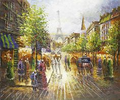 """Wall Art Decoration Ideas Oil Painting Reproductions Paris Streetscape, Size: 24"""" x 20"""", $83. Url: http://www.oilpaintingshops.com/wall-art-decoration-ideas-oil-painting-reproductions-paris-streetscape-1825.html"""