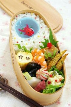 """Little """"Goldfish"""" in my tiny blue pond Bento Veggie Recipes, Healthy Recipes, Veggie Food, Bento And Co, Riced Veggies, Japanese Lunch, Japanese Food, Watermelon Fruit, Frozen Banana Bites"""