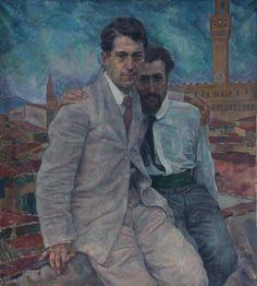 August Bresgen (German, 1888-1987), Portrait of two friends in Florence, c. 1930. Gouache on paper, 110 x 100 cm.