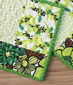 Early Spring  Handmade Quilted Potholders by The MJ Collection on Etsy