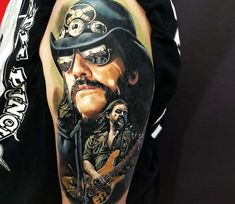 Awesome 3 colors realistic tattoo works of Lemmy Kilmister from Motorhead done by artist Lena Art Tattoo Metal Tattoo, World Tattoo, Painting Tattoo, Tattoos Gallery, Tattoo Images, Tattoo Artists, Cool Tattoos, Ink, Portrait Tattoos