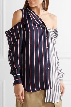 Monse - Cold-shoulder Striped Silk-satin Shirt - Midnight blue - US10