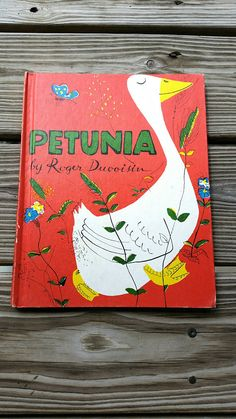 1950s Petunia by Roger DuVoisin (Hardcover)  Petunia is the first in a series of classic books by DuVoisin about a silly goose named Petunia. In this story, Petunia stumbles upon a book & becomes proud, believing that by owning the book she has become wise, and so begins dispensing her wise advice to the other animals on the farm. If Petunia hasnt read the book though, is she really so wise? Youll sure have fun finding out!  Great vintage condition. Edges are only slightly worn from being...