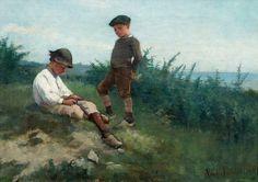 Amelie Lundahl (Finnish artist) - Boys by the Shore [1881]