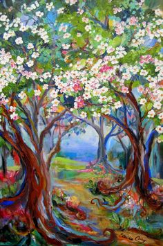 Large Plum Tree Forrest Original Painting 24 x 36 Art by