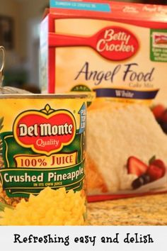 Angel food Pineapple cake dessert - Debbiedoo's  Literally cake mix and a can of pineapple